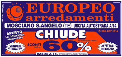 Europeo Arredamenti - Svendita per cessazione attività - Teramo