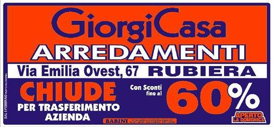 Manifesto Giorgi Casa Arredamenti - Svendita per trasferimento locali