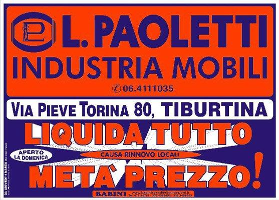 Manifesto Paoletti - Liquidazione totale per rinnovo locali a Tiburtina